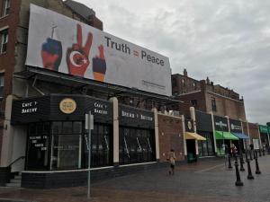 Turkic Platform Billboard Denying Armenian Genocide in the North End of Boston (Photo: David Filipov, Boston Globe staff)