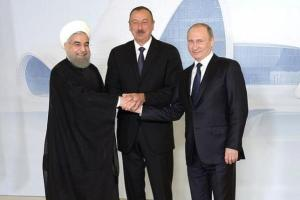 Iranian, Azeri and Russian presidents meet in Baku to discuss trilateral ties and options to exploit potentially strategic natural assets in the Caspian Sea. Photo courtesy of the Russian government.