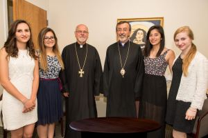 The four students with Archbishop Khajag Barsamian and Rev. Mardiros Chevian