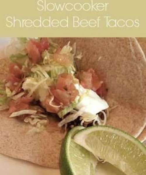 Slowcooker Shredded Beef Tacos - Just 4 ingredients and so yummy! #slowcooker #crockpot #tacos #shreddedbeef