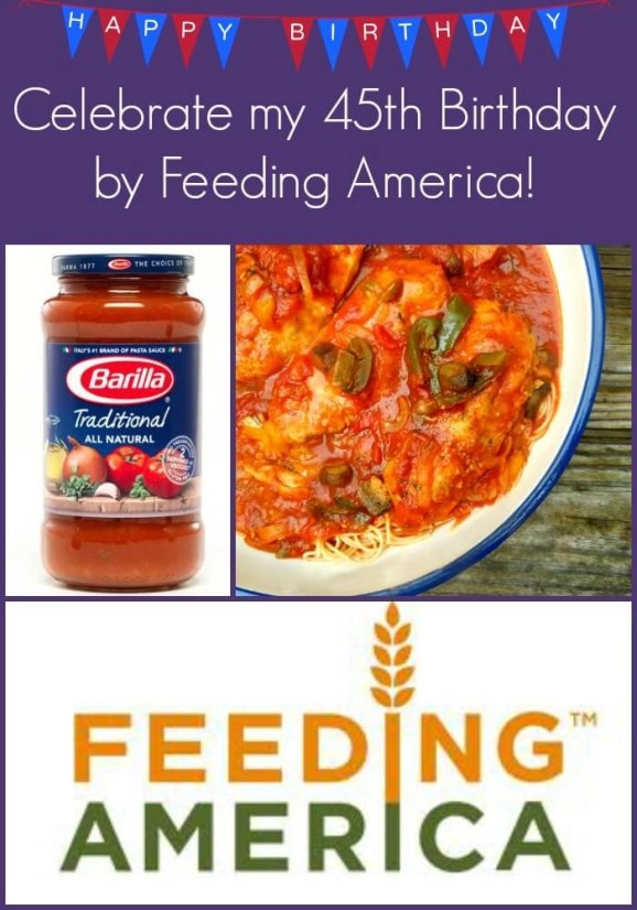 Give me my birthday wish by helping Feeding America donations will be made to local food banks. Includes a birthday dinner recipe for Chicken Cacciatore #feedingamerica #slowcooker
