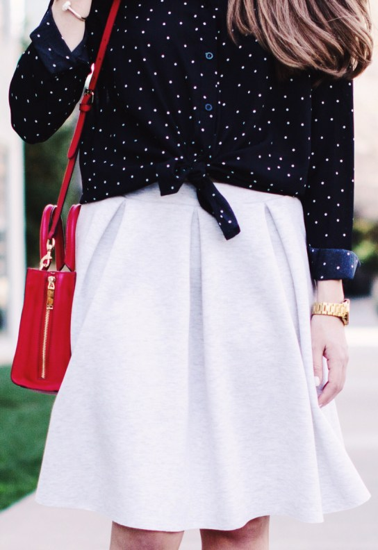 Black and White polka dot blouse and knit pleat skirt