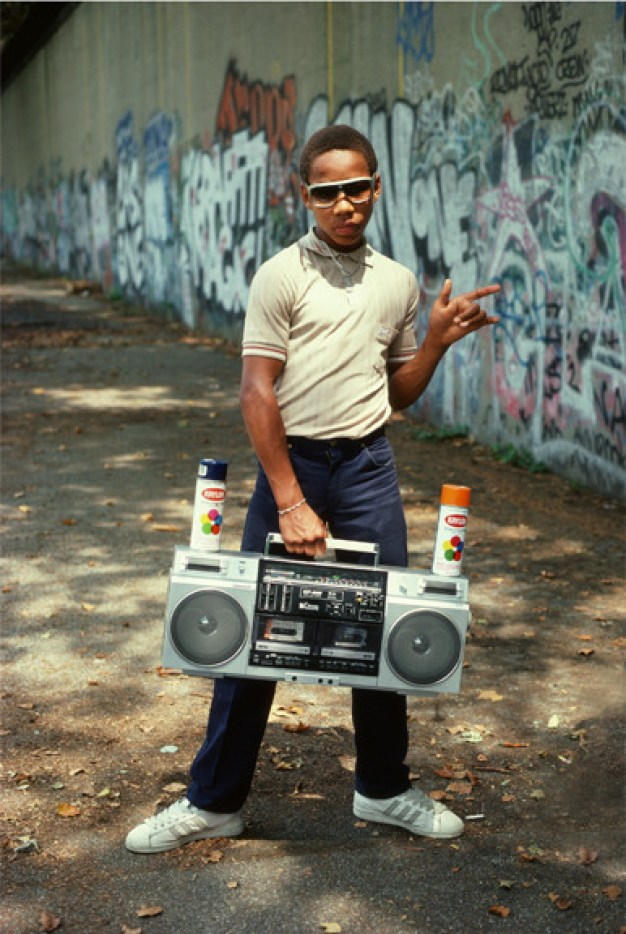 Photograph: Little Crazy Legs strikes an impromptu pose during Wild Style shoot, Riverside Park, 1983, by Martha Cooper.
