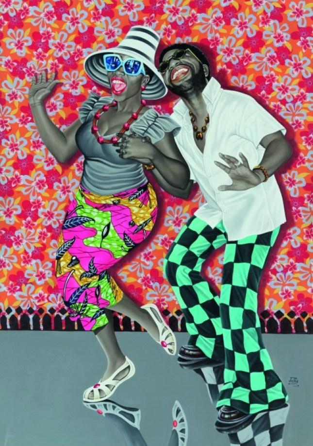 JP Mika, Kiese na kiese, 2014, Oil and acrylic on fabric, 168.5 x 119 cm, Pas-Chaudoir Collection, Belgique © JP Mika/Photo © Antoine de Roux