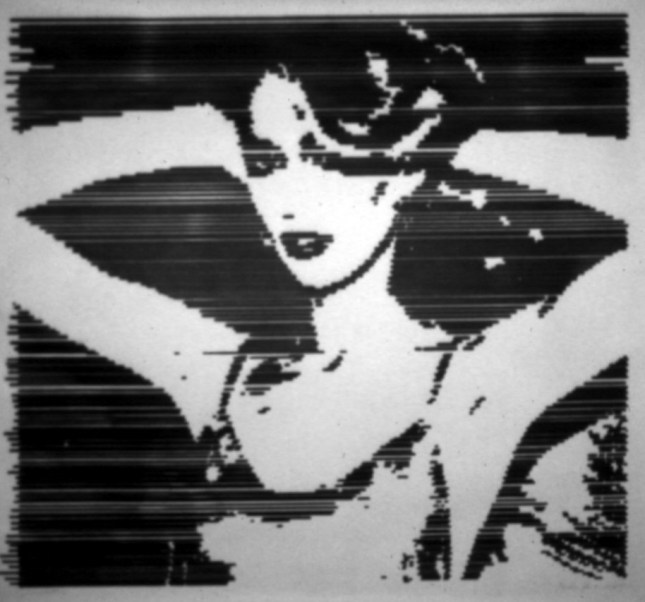 Photo: ©Anton Perich. Jerry Hall, 1979, ink on paper, 3X4 feet.