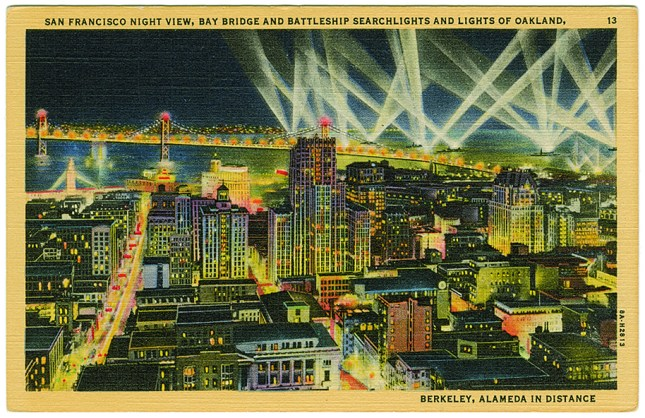 Artwork: San Francisco Night View, Bay Bridge and Battleship Searchlights and Lights of Oakland, Berkeley, Alameda in Distance, 1938