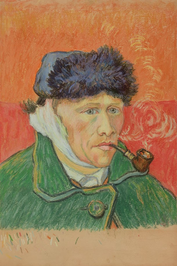 Artwork: Emile Schuffenecker, Man with a Pipe (after Van Gogh's Self-Portrait), ca. 1892-1900, chalk on paper, Van Gogh Museum, Amsterdam (Vincent van Gogh Stichting)