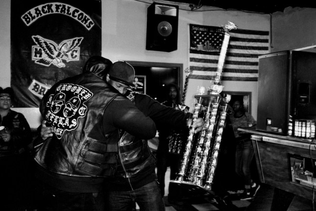 Photo: Choice, President of Black Falcons MC, Black Falcons Trophy Party. Bronx, 2016. ©Cate Dingley.