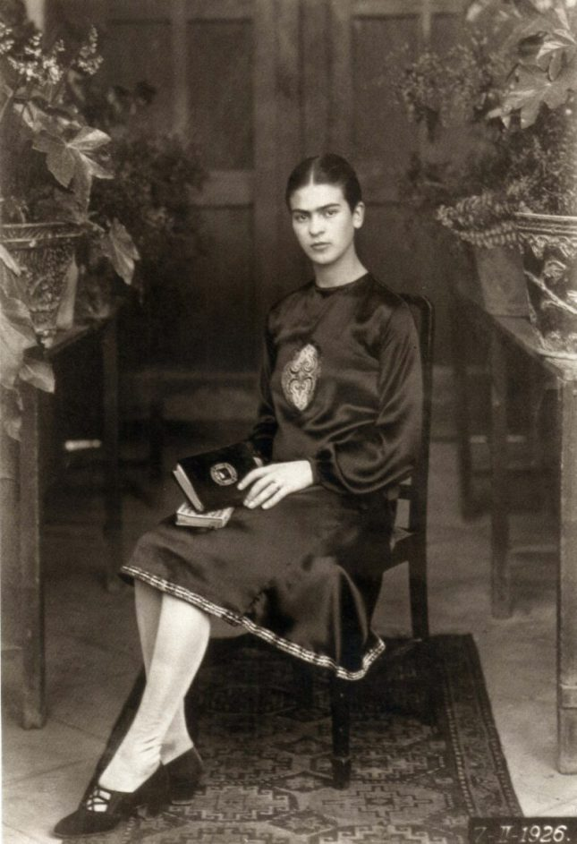 Photo: Guillermo Kahlo (Mexican, born Germany, 1872-1941). Frida Kahlo at 18, Mexico, 1926. Gelatin silver print, 6 1/2 x 4 1/2 in. On loan from Throckmorton Fine Art.