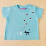 Camiseta Amor gatuno azul