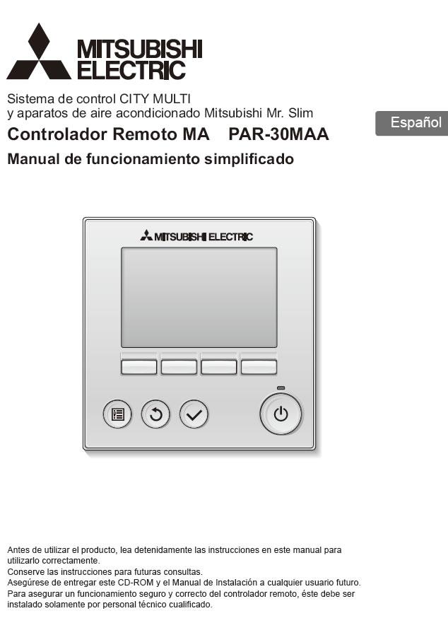 Mitsubishi Electric PAR-30MAA, manual de usuario y técnico.