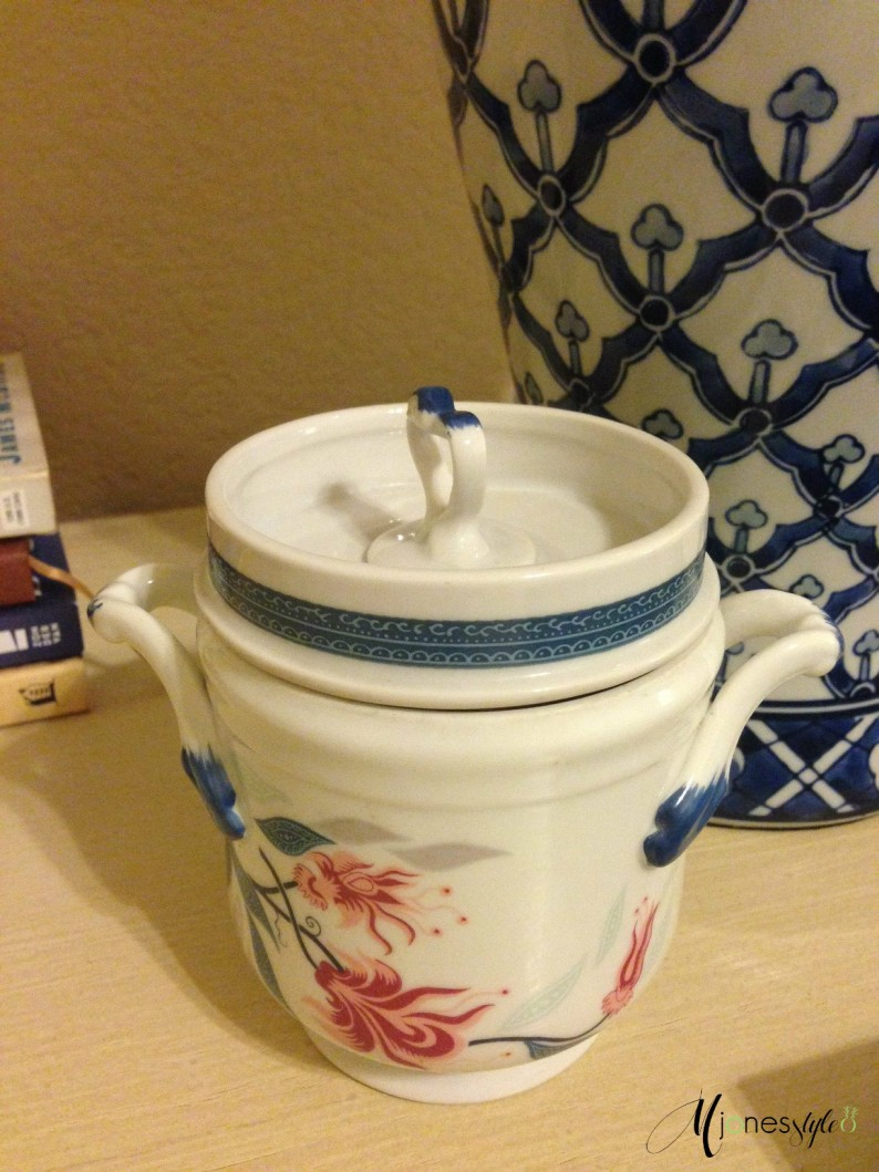 #blue and white candy dish