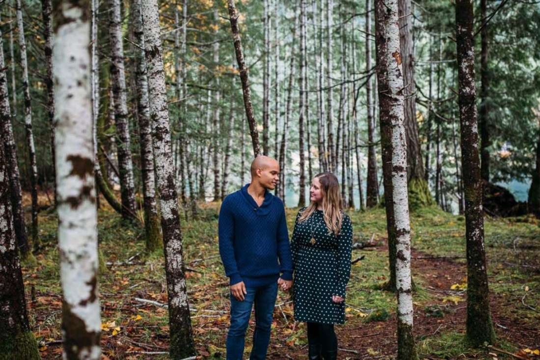 engagment photos in tall trees