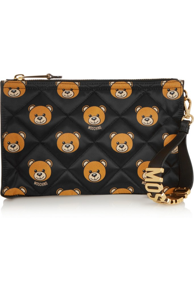 MOSCHINO  Leather-trimmed printed quilted shell clutch $450