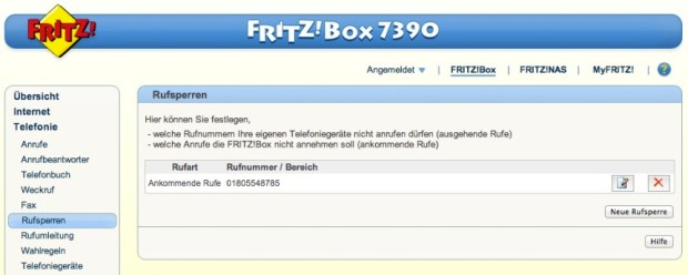 Fritz!Box Rufnummernsperre