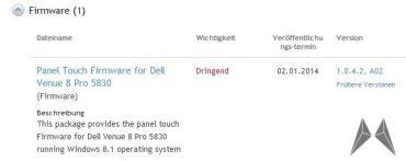 Dell Venue 8 Pro Touch Panel Firmware Update
