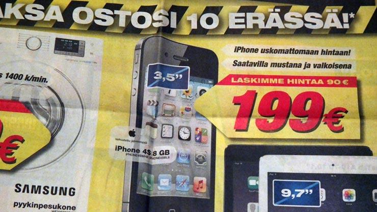 Apple iPhone 4s tarjous 199 euroa