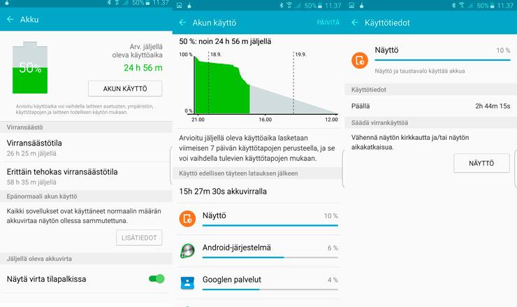 Galaxy S6 edge+, akku