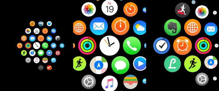 Apple Watch, sovellusvalikko