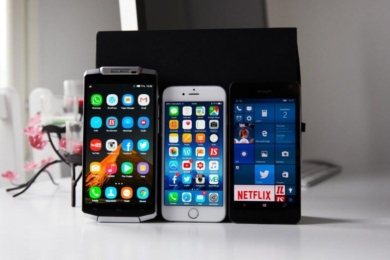 Oukitel K10000, iPhone 6s, ja Microsoft Lumia 650