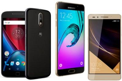 Moto G Plus 4tg gen, Galaxy A5 ja Honor 7 Premium
