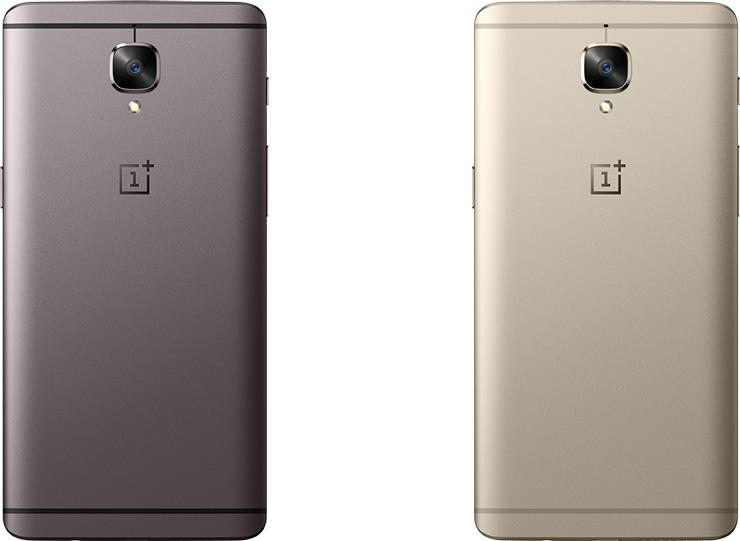 OnePlus 3 Gunmetal -harmaa ja Sodt Gold -kulta