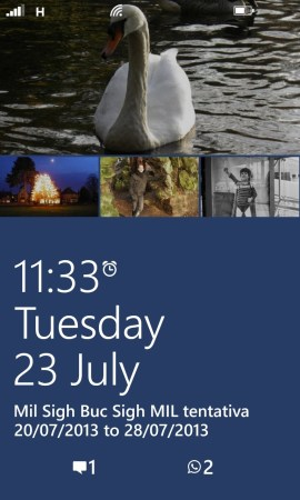 Nokia Lumia 925 lock screen