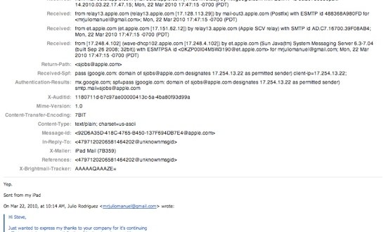 Email received by Julio