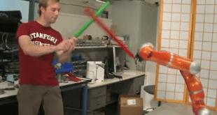 Lightsaber fighting robot