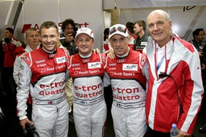 The Audi trio of Marcel Fässler, André Lotterer and Benoît Tréluyer drove the first ever diesel-electric racing car out on track at Spa and drove it to pole position during qualifying
