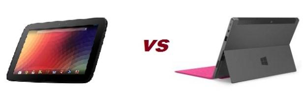 Google Nexus 10 versus Microsoft Surface RT