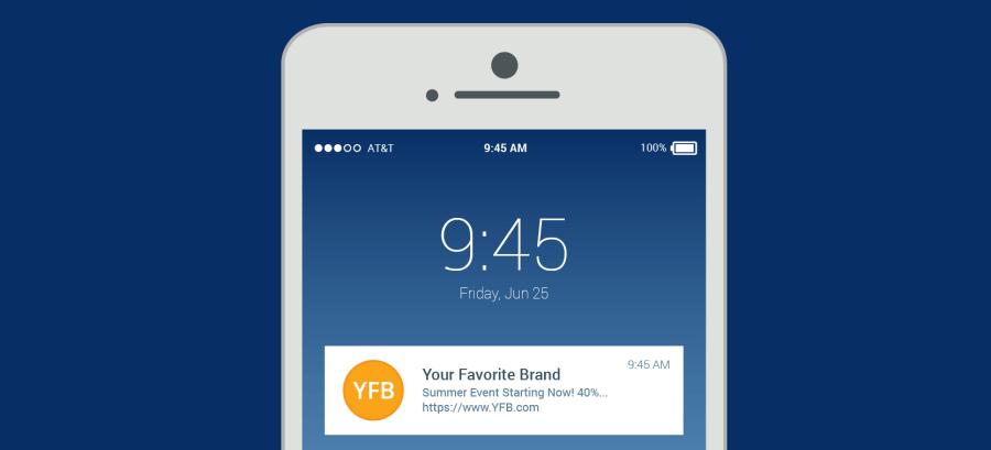 notificações push para clientes: push exemplo