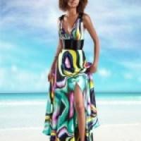 Vestido longo florido de seda moda verão 2014