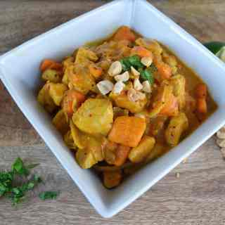Chicken Sweet Potato Curry is Paleo diet friendly and is full of healthy benefits - lean chicken breasts, sweet potatoes, tumeric, ginger, onion, garlic, red chilies, and coconut milk. It is both gluten and dairy free. Modern Honey - www.modernhoney.com