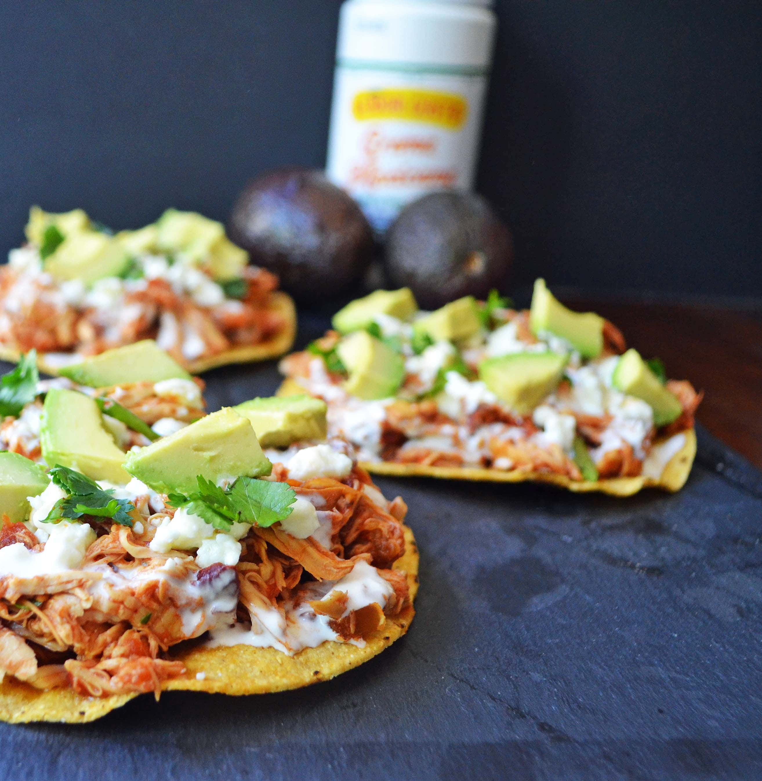 Slow Cooker Chicken Tinga Tostadas by Modern Honey - www.modernhoney ...