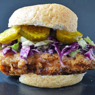Bubby's Buttermilk Fried Chicken Sandwich with Creamy Coleslaw and Spicy Pickles by Modern Honey l www.modernhoney.com
