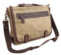 CLELO B450 Vintage Leather Canvas Messenger