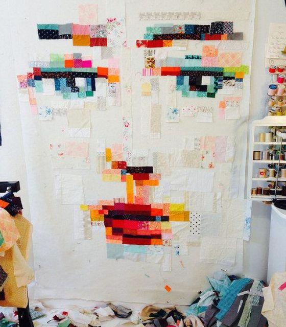 modflowers: improv pixel quilt by Melissa Averinos
