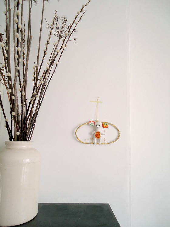 modflowers: hanging around - handmade mouse hanging art, soft sculpture