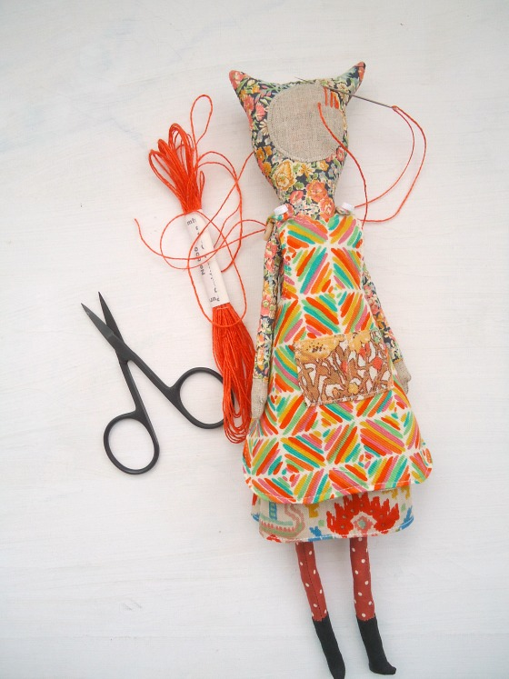 modflowers: handmade doll in Liberty print fabric