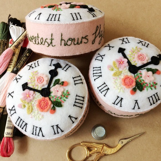 modflowers: pining for pincushions - clock pincushions by Angele Carter