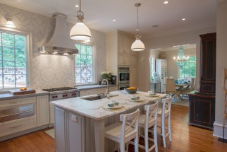 Kitchen design with island.