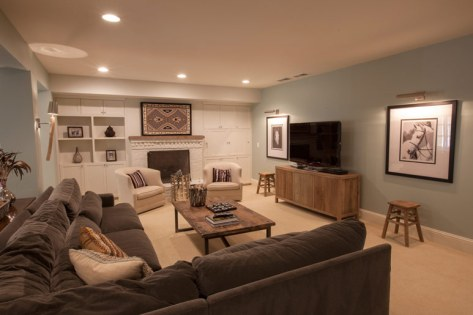Finished basement living area.