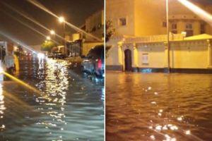 بالفيديو والصور.. غرق حي غنامة اثر الامطار الغزيرة ببريدة