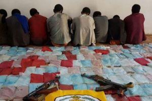 بالصور.. القبض على 8 إثيوبيين حاولوا تهريب 300 كج حشيش بجازان