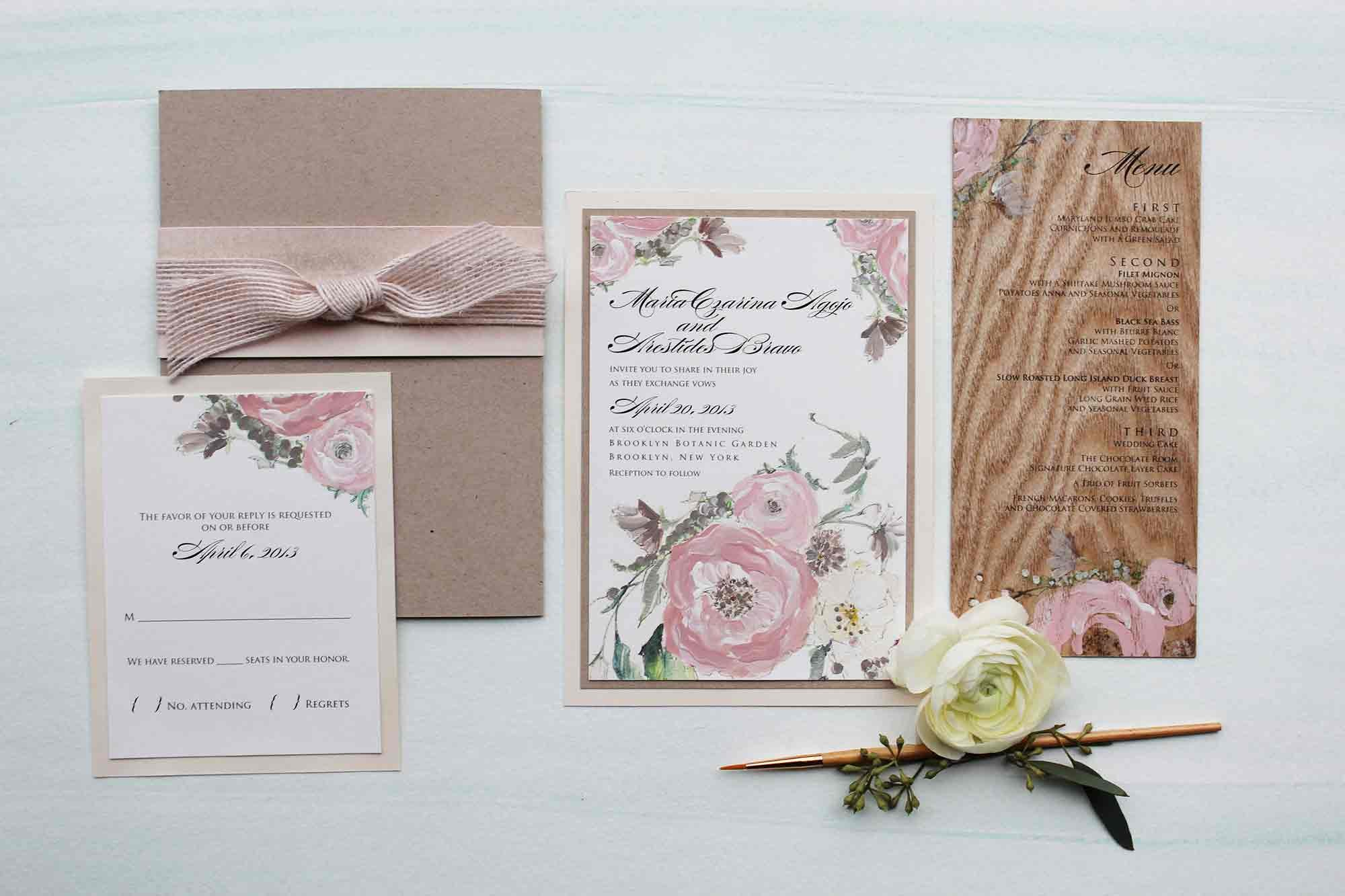 wood collection wood wedding invitations Pin It pink peony wood wedding invitation