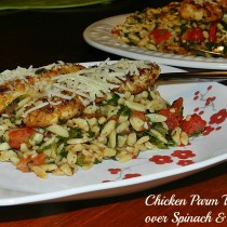 Chicken Parm over Spinach & Orzo