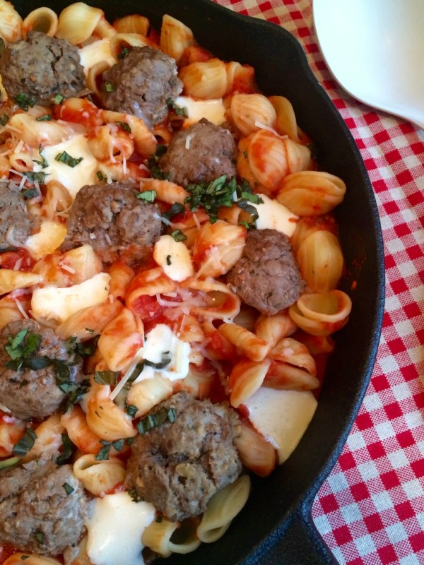 Orecchiette and Meatball Skillet Dinner