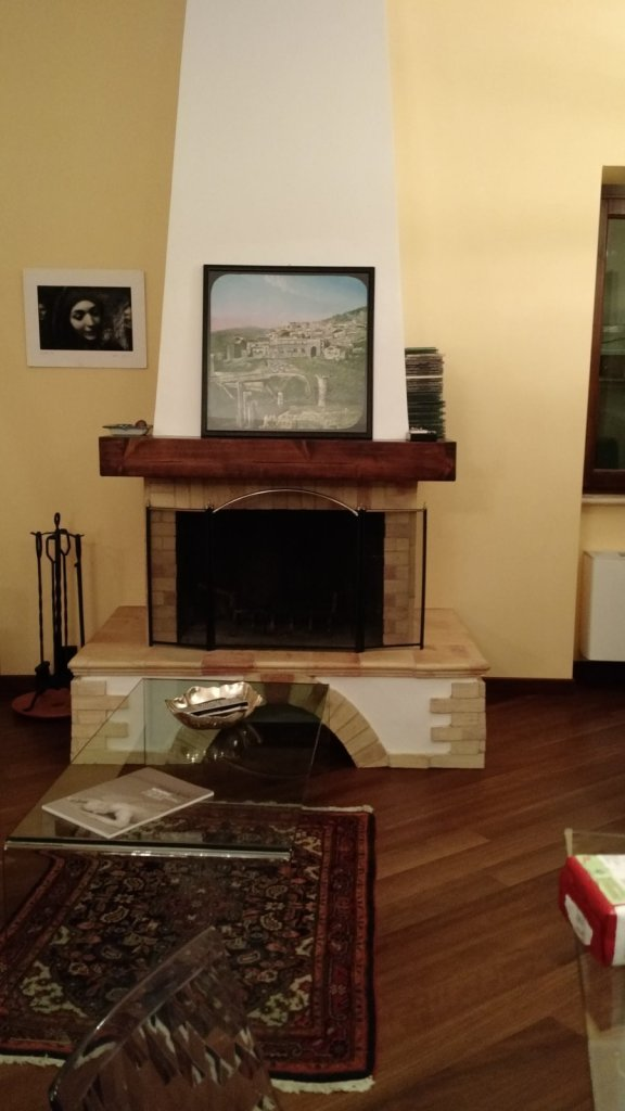 Full frontal of the fireplace.