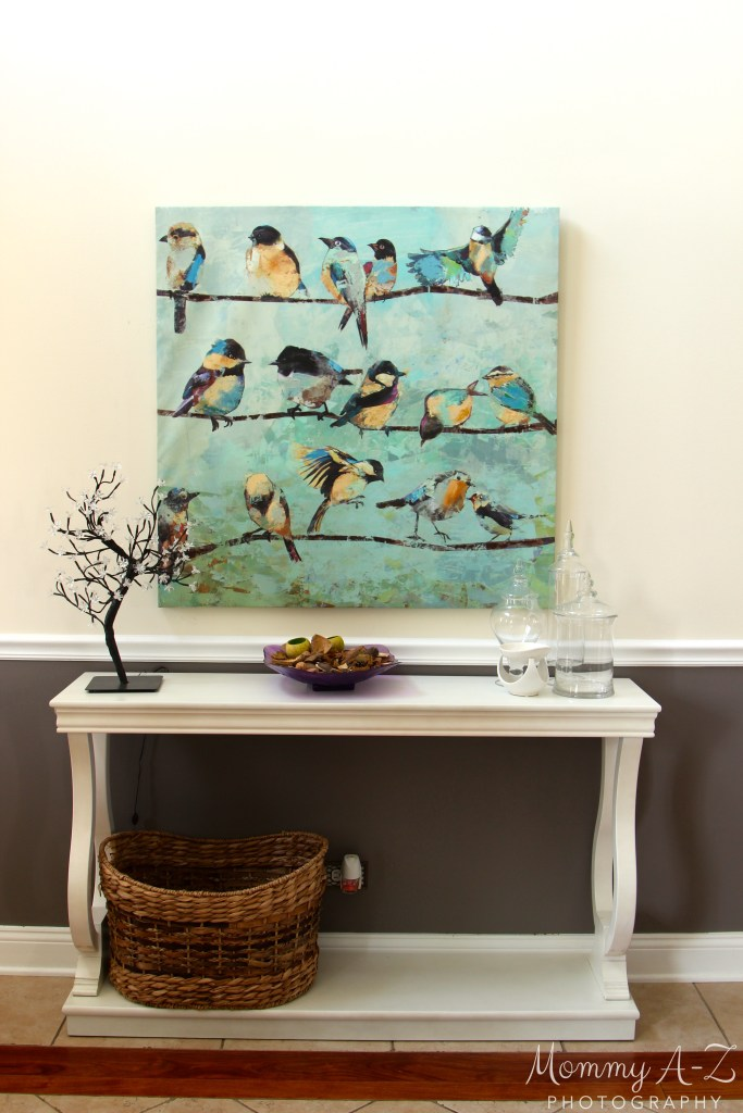 Entryway decor, birds on a wire